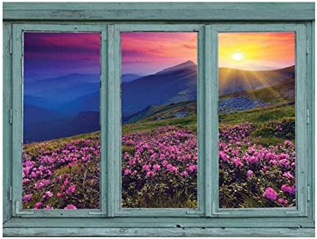 A Colorful Sunset Over Blue Mountains and Rocky Soil with Pink Flowers in Bloom - Wall Mural, Removable Sticker, Home Decor - 36x48 inches