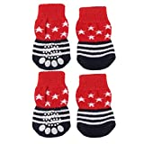 Pet Dog Puppy Cat Shoes Slippers Non-Slip Socks Star Stripes w/ Paw Prints M