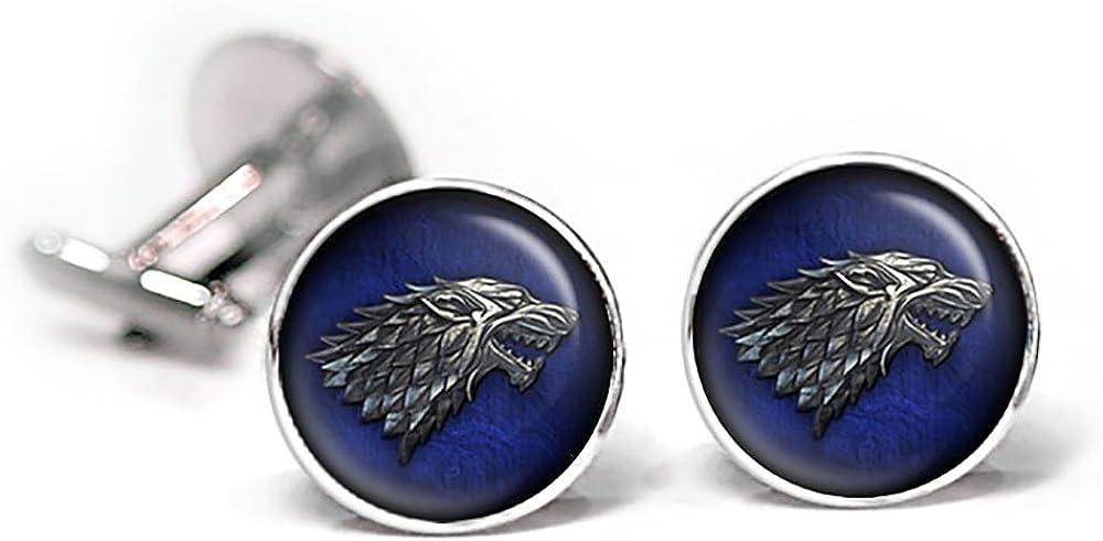 Dire Wolf Jewelry Game of Thrones Wedding Party Gifts Stark Tie Clip Game of Thrones Cufflinks Groomsmen Gift