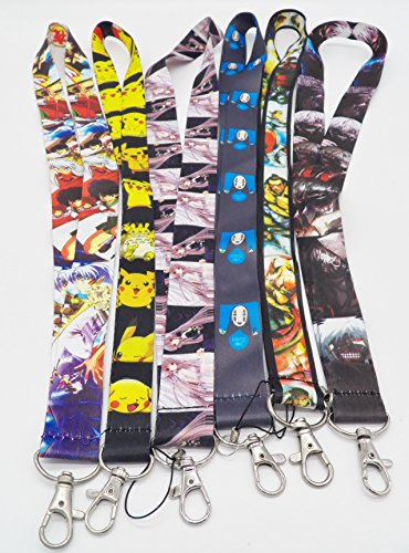 6 Assorted Anime Street Fighter Inuyasha Phone Key Chain Strap LANYARD Set #150