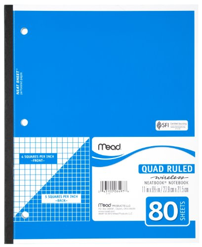 - Mead Notebook, Wireless, 1 Subject, Quad Ruled, 8-1/2