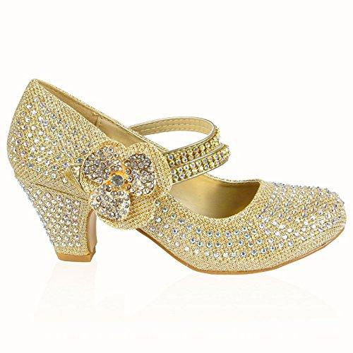 MYSHOESTORE , Sandales pour fille - Or - Gold Diamante Flower, 28 EU enfant
