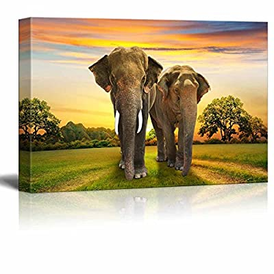 Canvas Prints Wall Art - Elephants Family at Sunset | Modern Wall Decor/Home Art Stretched Gallery Canvas Wraps Giclee Print & Ready to Hang - 16