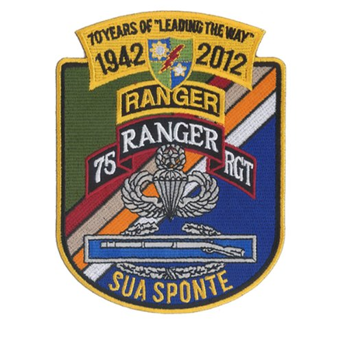 70 Year Anniversary - 75th Infantry Regiment - U.S. Army Ranger Embroidered Patch 75th Ranger Regiment Patch
