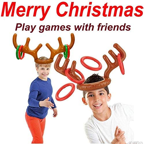 Christmas Party Game for Kids-15 PCS Christmas Inflatable Reindeer Antler Ring Toss Game Xmas Holiday Carnival Party Favors Dress Up Game Toys for Kids Family Classroom With 3 Reindeer Toss 12 Rings
