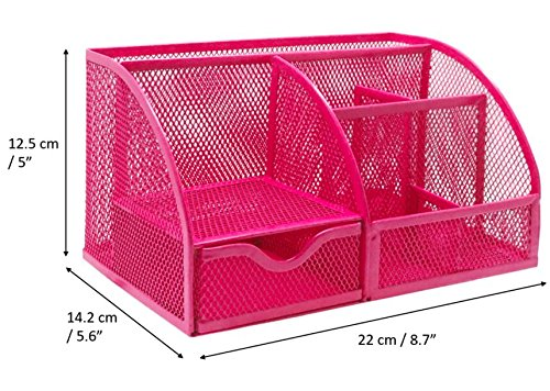 EX2428-BLK School Exerz Desk Organizer Wire Mesh 3 Layer Sliding Letter Trays with 5 Upright Sections//Dividers//Paper Sorter//Desk Multifunctional File Holder Filing Shelves for Office