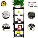 hebensi 5 Tier Versatile Foldable Stand Wire Shelf Shelving Unit Bakers Rack Metal Rustproof Organizer Corner Planter Stand Storage Shelves Bookcase Indoor Outdoor Plant Rack