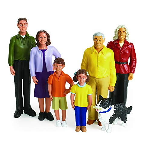 Excellerations Educational Multicultural Pretend Play Figurine Family Hispanic Dolls Set of 7 (Item # PPEXHS) ()