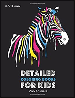 Detailed Coloring Books For Kids: Zoo Animals: Black Background ...