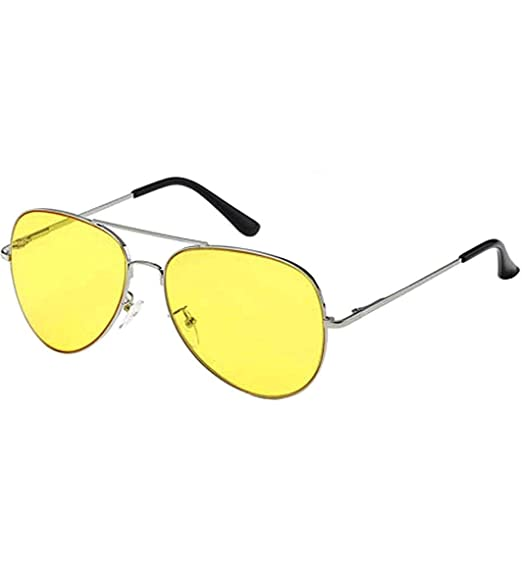 b4572a26cff Image Unavailable. Image not available for. Color  Aviator Classic  Sunglasses Silver Frame Colored Lens (  Yellow)