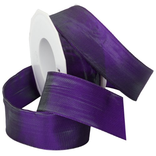 Morex Ribbon French Wired Lyon Ribbon, 1-1/2-Inch by 27-Yard Spool, Iridescent Purple