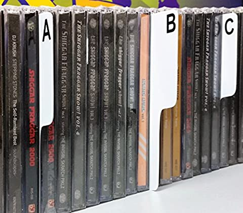 CD A-Z Front & Back SHELF Divider Cards 26pc. White Plastic Tab - Spine On Side (narrow) + 1 free dj magnet