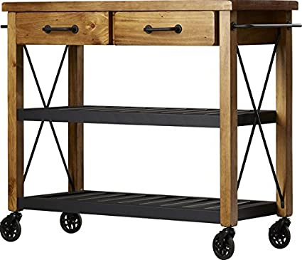 Amazon.com - Modern Kitchen Cart, Powder Coated Steel, Fixed ...