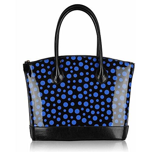 TrendStar Damen Handpatent Frauen Große Säcke Der Schulter Polkapunktes Stardesigner Stil Taschen Schwarz/Blau