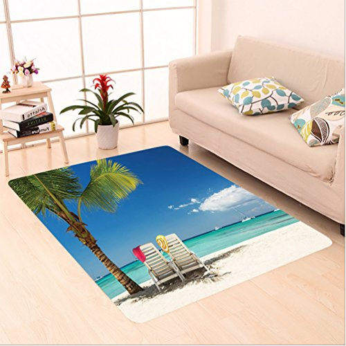 Nalahome Custom carpet ecor Relaxing Scene On Remote Beach With Palm Tree Chairs And Boats Panoramic Picture Blue Green area rugs for Living Dining Room Bedroom Hallway Office Carpet (2' X 10')