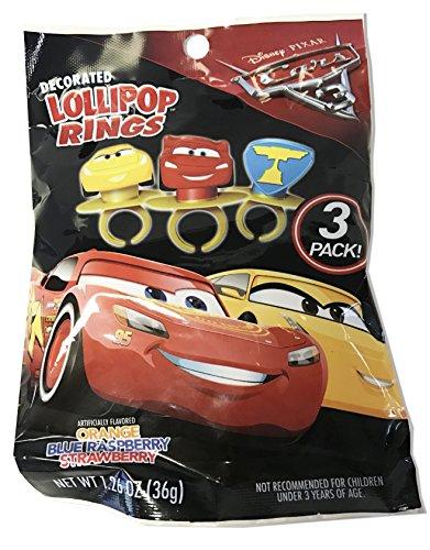 Disney Cars Rings (Disney Pixar Cars 3 Lightning McQueen Cruz and Piston Cup Lollipop Rings, 3 (1 Pack-3 Rings))