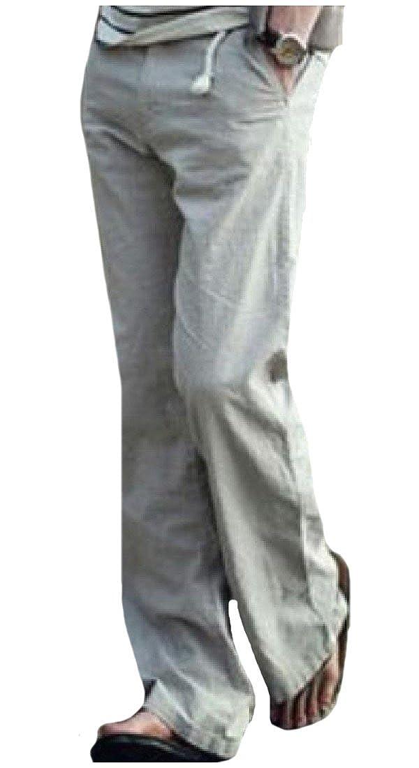 RDHOPE-Men Wild Cotton Linen Breathable Loose Pure Color Trousers Grey L
