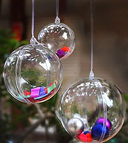 Adorox (60mm;12 Ornaments Clear Plastic Fillable Ornaments Christmas Favor  Candy Party Decor Spheres - Amazon.com: Adorox (60mm;12 Ornaments Clear Plastic Fillable