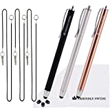 "3pcs Stylus Pen 5.5"" Replaceable Thin-Tip - Universal Capacitive High Precision Styli + Replacement Tips, Elastic Lanyards + Cleaning Cloth (Gold/Silver/Black)"