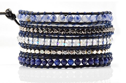 blue-mix-wrap-bracelet-crystal-multilayer-4mm-handmade-genuine-black-leather-woven-bangle