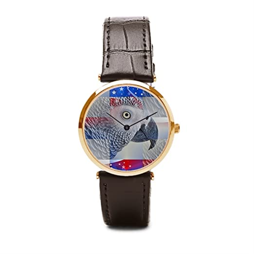 aromar piel rectángulos relojes baratos reloj de pulsera Parrot: Amazon.es: Relojes