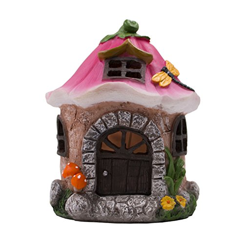 TAKE ME Garden Solar Fairy House Lights Statuary-Miniature Cottage for Garden Decor Outdoor Statue with Warm LED Lights. (Cottage)