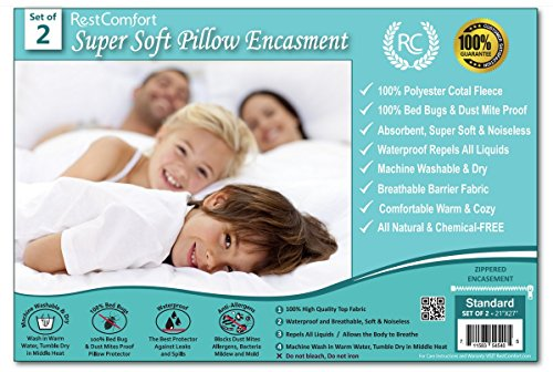 """RestComfort Set of 2 Super Soft Coral Fleece Pillow Protectors - Bed Bug & Dust Mite Bacteria, Allergy Proof/Waterproof Hypoallergenic Breathable & Cozy - Zippered Encasement, (2, Standard 21""""x27"""")"""