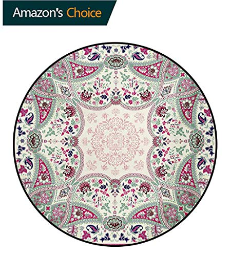 RUGSMAT Paisley Modern Machine Washable Round Bath Mat,Geometric Ornamental Square Print Detailed Modern Stylized Image Non-Slip Soft Floor Mat Home Decor,Round-35 Inch Pink Navy Blue Pale Green