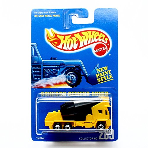 OSHKOSH CEMENT MIXER (Yellow) Collector #269 Hot Wheels 1991 HW Basic 1:64 Scale Die-Cast Vehicle (Oshkosh Cement Mixer)