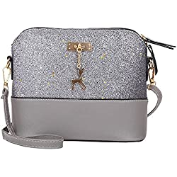 Clearance Sale! ZOMUSAR Women Fashion PU Leather Zipper Splice Handbag Shoulder Shell Bag Shiny Crossbody Tote Bag (Gray)