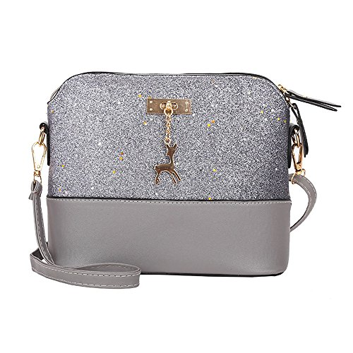 Liraly Women Bags,Summer 2018 Womens Leather Crossbody Bag Sequins Small Deer Shoulder Bags Messenger Bag (Gray)