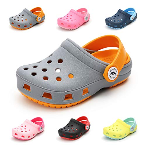 (Toddler Kids Boys Girls Classic Clogs Slip On Garden Water Shoes Lightweight Summer Pool Slippers Beach Sandals(Toddler/Little Kids)(A-Grey,6.5 M US Toddler))
