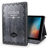 New iPad 9.7 2017 Case,JGOO ''Magic World Series'' Modern Vintage Book Style Case for New iPad 9.7 Inch(2017 Release),Silm PU Leather Smart Case w/ Auto Sleep Wake & Multi Angle Stand,Grey