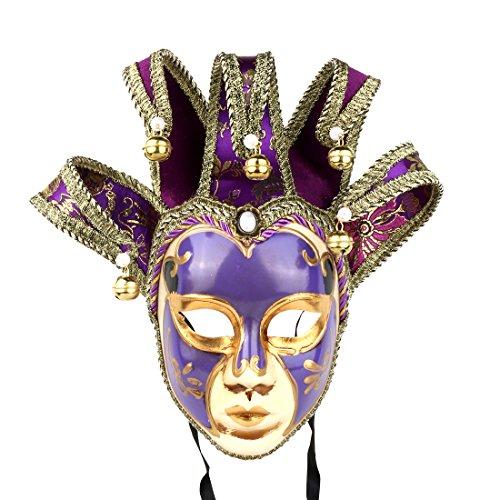 YUFENG Vintage Jolly Joker Venetian Masquerade Mask Costume Halloween Cosplay Mask for Party,Ball Prom,Mardi Gras,Wedding,Wall Decoration (Purple) ()
