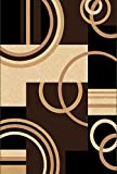 Golden Rugs Platinium Collection Hand Carved Area Rug Modern Contemporary (5'2″ X 7'5″, Black-Brown) For Sale
