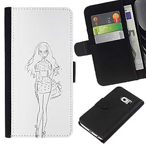 All Phone Most Case / Oferta Especial Cáscara Funda de cuero Monedero Cubierta de proteccion Caso / Wallet Case for Samsung Galaxy S6 EDGE // White Sketch Dress Fashion Pencil