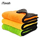 iTavah Car Detailing Towels Pack of 3 15' x 17.7' Ultra-Thick Microfiber Polishing Waxing Drying Cleaning Towel Cloth 840gsm