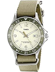 Timex Mens T2P035KW Ameritus Sport Silver-Tone Watch with Green Nylon Band