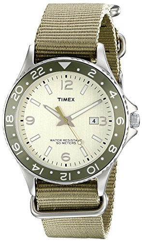 Timex Eagle Drive | Brown Dial & Nylon Slip-Through Strap Day Date Casual - Watch Face Eagle