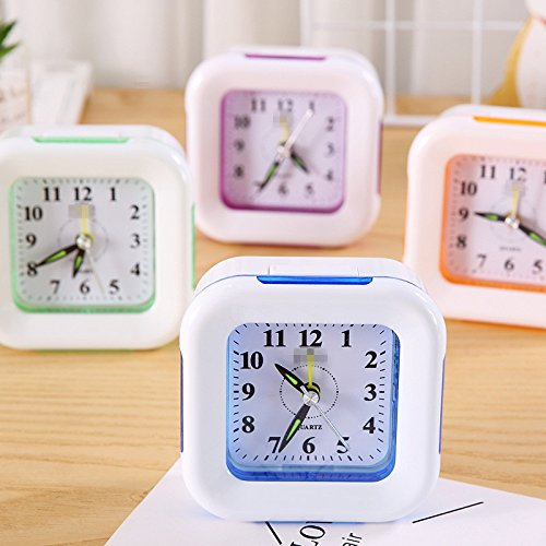 Tuersuer Best Alarm Clock Creative Square Alarm Clock with Night Light for Children Kids Students (Blue)