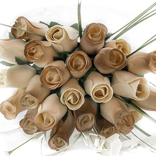 50 Year Anniversary Gold and White Flower Bouquet The Original Wooden Rose Closed bud (2 Dozen)