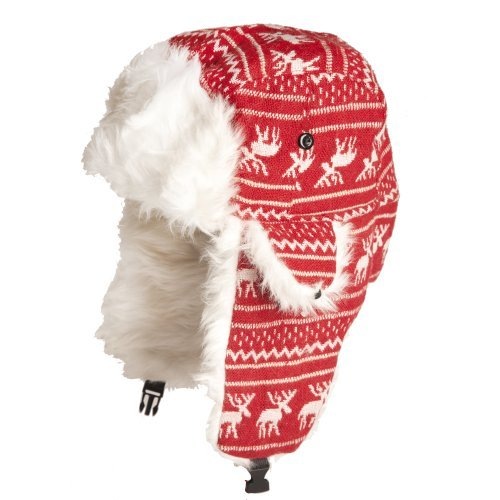 Accessoryo Women's Reindeer Design Trapper Hat with Faux Fur Lining 59cm Red and White