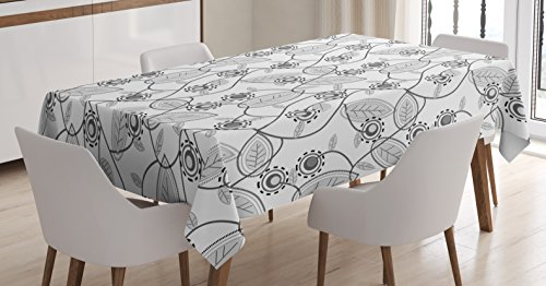 Raspberry Home Decor Fabric - Lunarable Grey and White Tablecloth, Abstract Pattern with Raspberry Plants Flowers Leaves, Dining Room Kitchen Rectangular Table Cover, 60