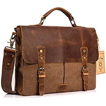 Amazon.com: Satchel Messenger Bag for men Vintage Real Leather ...