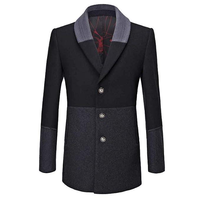LandFox-Cappotto Parka Uomo Cappotti Inverno Elegante Soprabito da Uomo  Giubbotto Trench Coat da Uomo Casual Giacca da Soprabito Slim Fashion  Fashion Long ... 086213b88e3b