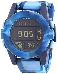 Nixon Unit Steel Digital Dial Marbled Blue Silicone Strap Mens Chrono Watch A1971726