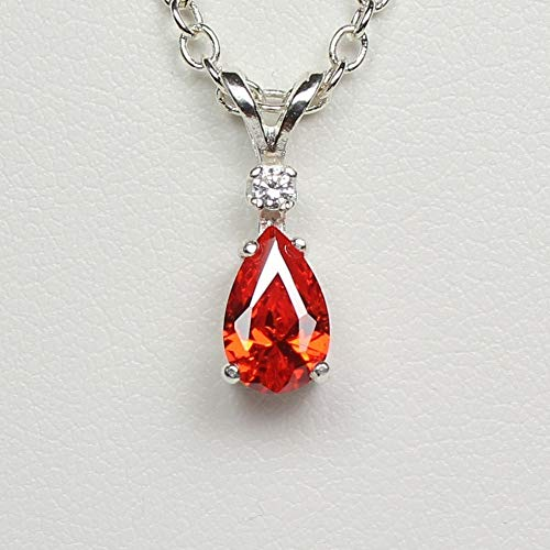 Mexican Fire Opal Necklace Sterling Silver with Diamond Accent