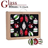 Valery Madelyn 15ct 80-115mm/3.15-4.53inch Delightful Traditional Red Green Silver and White Glass Christmas Ball Ornaments Decoration,15 Pcs Metal Hooks Included, Themed with Tree Skirt(Not Included)