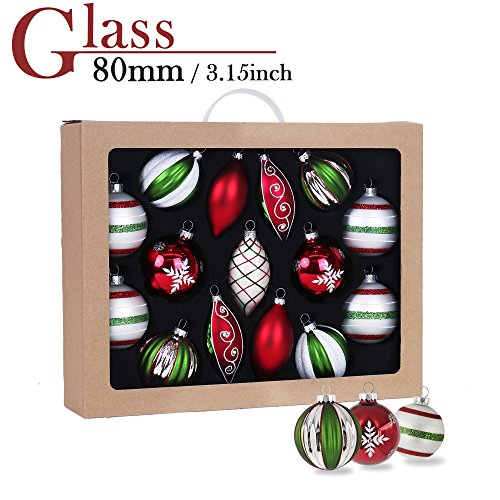 Glass Balls Christmas Ornaments - Valery Madelyn 15ct 80-115mm/3.15-4.53inch Delightful Traditional Red Green Silver and White Glass Christmas Ball Ornaments Decoration,15 Pcs Metal Hooks Included, Themed with Tree Skirt(Not Included)