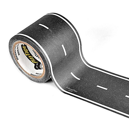 - PlayTape Black Road - Road Car Tape Great for Kids, Sticker Roll for Cars and Train Sets, Stick to Floors and Walls, Quick Cleanup, Children Toys Birthday Gift (30'x2 - Single Roll, Black)